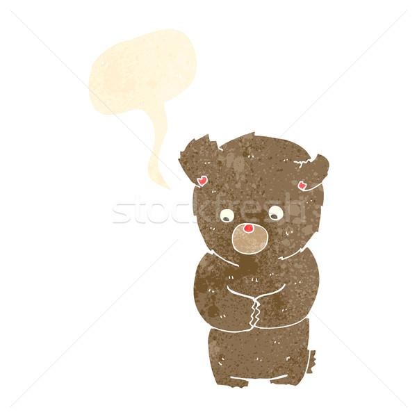 Cartoon verlegen teddybeer tekstballon hand ontwerp Stockfoto © lineartestpilot