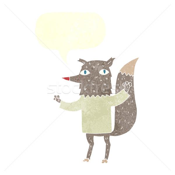 Cartoon loup bulle main design art Photo stock © lineartestpilot