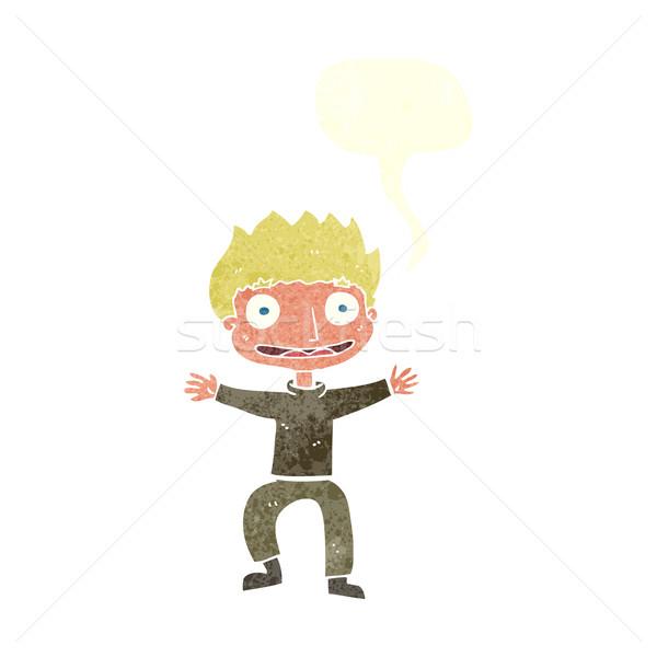 cartoon grinning boy with speech bubble Stock photo © lineartestpilot