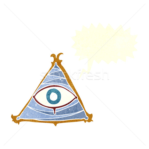 cartoon mystic eye symbol with speech bubble Stock photo © lineartestpilot