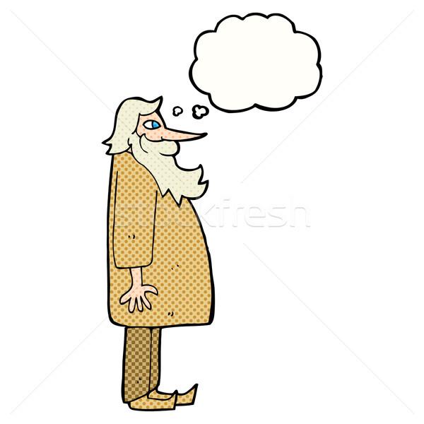 Cartoon бородатый старик мысли пузырь стороны человека Сток-фото © lineartestpilot