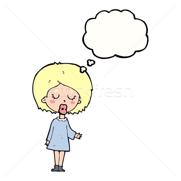 Cartoon женщину точки мысли пузырь стороны Сток-фото © lineartestpilot