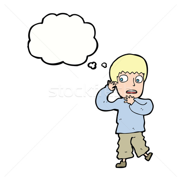 Cartoon przestraszony chłopca bubble myśl strony człowiek Zdjęcia stock © lineartestpilot