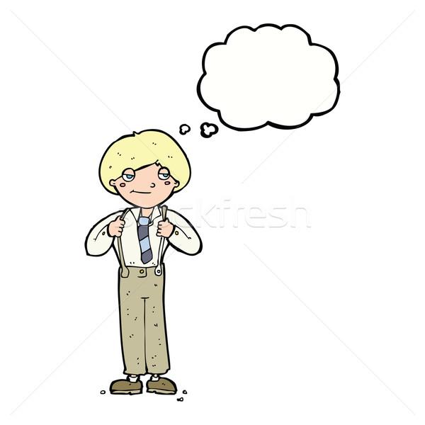 漫画 男 着用 ブレース 思考バブル 手 ストックフォト © lineartestpilot
