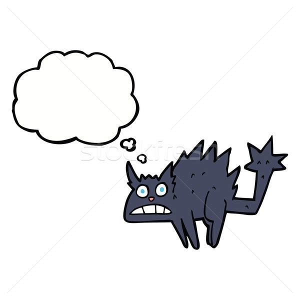 Cartoon asustado gato negro burbuja de pensamiento mano gato Foto stock © lineartestpilot
