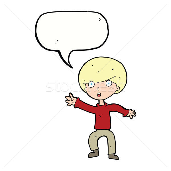 cartoon panicking boy with speech bubble Stock photo © lineartestpilot