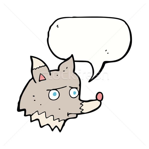 Cartoon infeliz lobo bocadillo mano perro Foto stock © lineartestpilot