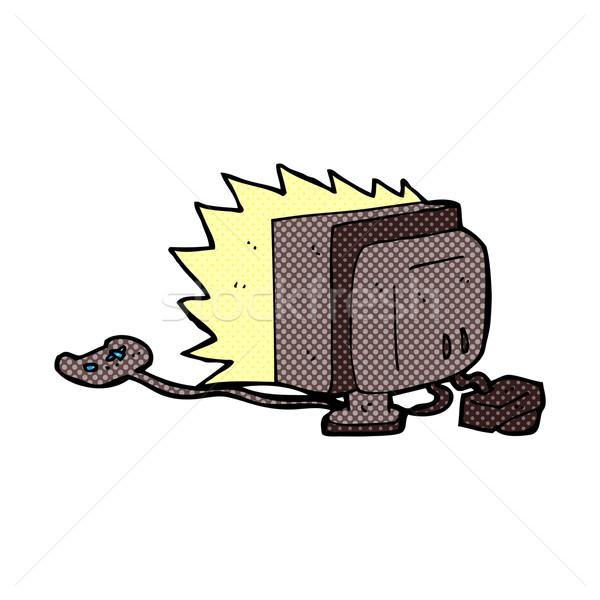 Komische cartoon computerspel retro stijl Stockfoto © lineartestpilot