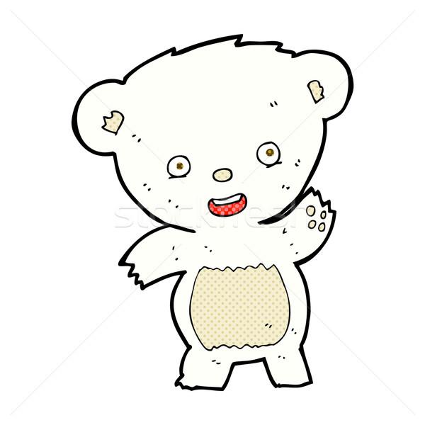 Fumetto cartoon orso polare retro Foto d'archivio © lineartestpilot