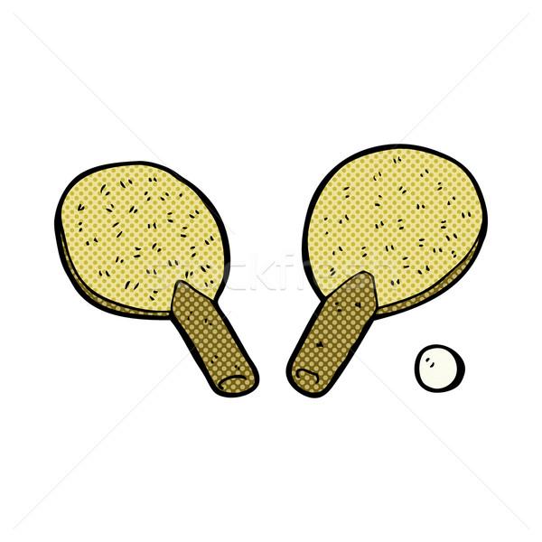 Fumetto cartoon tennis da tavolo retro stile Foto d'archivio © lineartestpilot