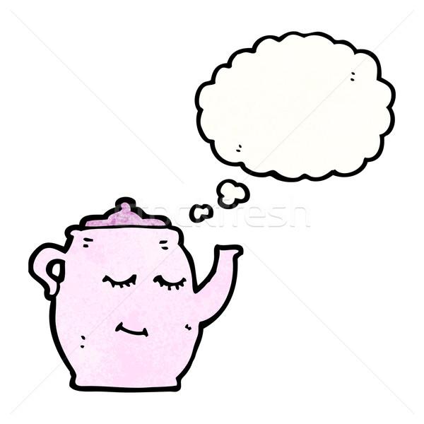 Cartoon theepot textuur hand gelukkig denken Stockfoto © lineartestpilot