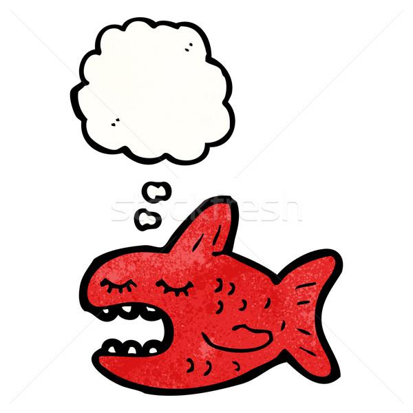 Desenho animado piranha peixe retro balão desenho Foto stock © lineartestpilot