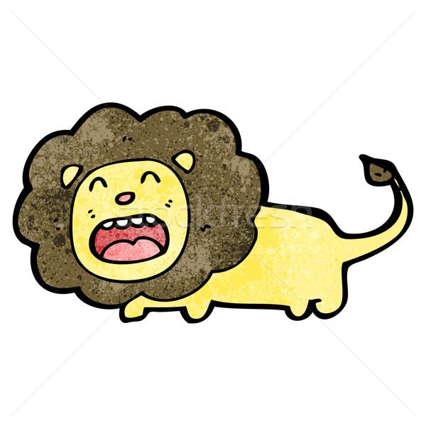 Cartoon lew sztuki retro rysunek cute Zdjęcia stock © lineartestpilot