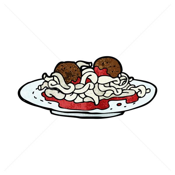 Cartoon spaghetti klopsiki żywności projektu sztuki Zdjęcia stock © lineartestpilot