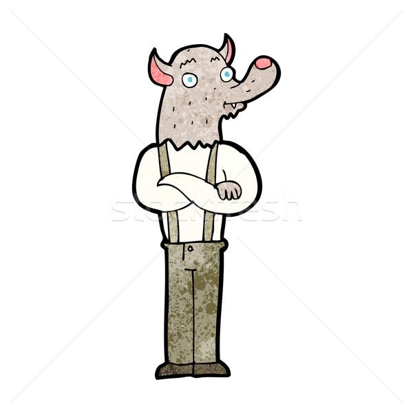 Karikatür dostça kurt adam el adam dizayn Stok fotoğraf © lineartestpilot