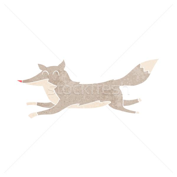Cartoon lopen wolf ontwerp kunst retro Stockfoto © lineartestpilot