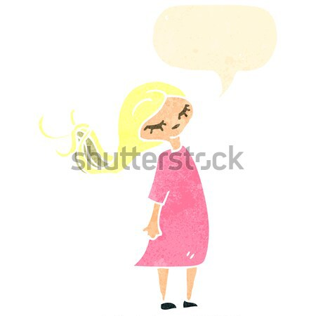cartoon girl with pony shirt waving Stock photo © lineartestpilot