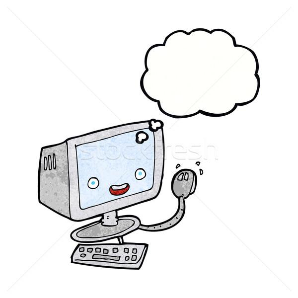 Desenho animado computador balão de pensamento mão projeto arte Foto stock © lineartestpilot