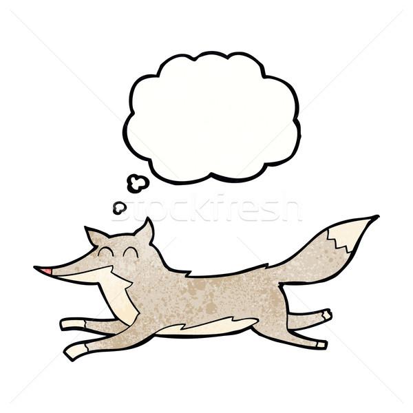 Cartoon работает волка мысли пузырь стороны дизайна Сток-фото © lineartestpilot