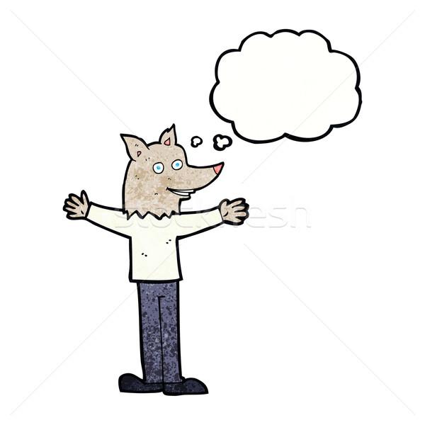 Karikatür kurt adam düşünce balonu el dizayn kafa Stok fotoğraf © lineartestpilot