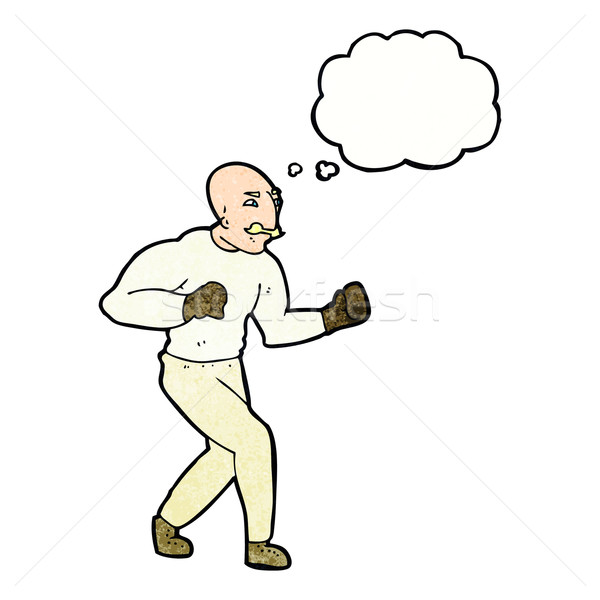 cartoon victorian boxer with thought bubble Stock photo © lineartestpilot