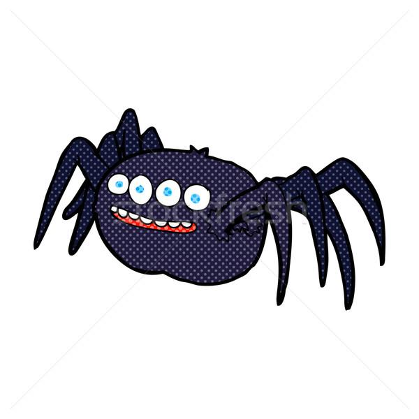 Képregény rajz ijesztő pók retro képregény Stock fotó © lineartestpilot