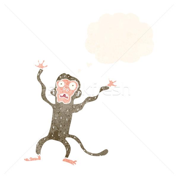 Cartoon испуганный обезьяны мысли пузырь стороны дизайна Сток-фото © lineartestpilot
