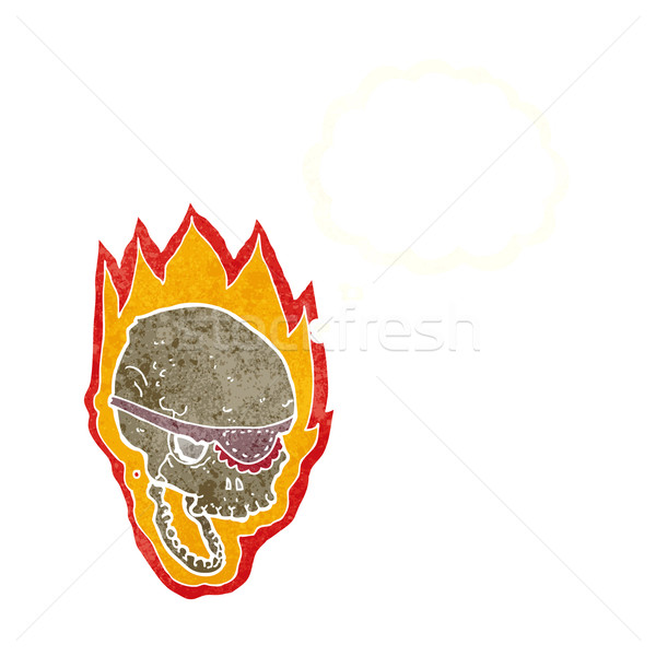 cartoon flaming pirate skull with thought bubble Stock photo © lineartestpilot