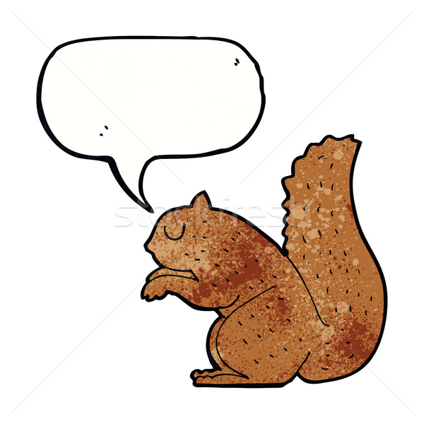 Cartoon eekhoorn tekstballon hand ontwerp kunst Stockfoto © lineartestpilot