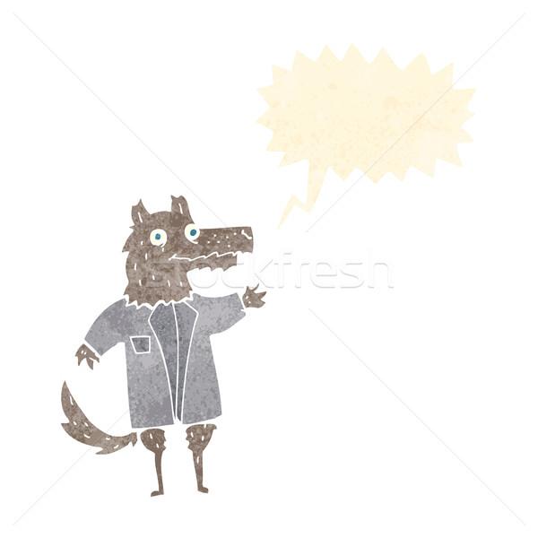Rajz farkas üzletember szövegbuborék üzlet kéz Stock fotó © lineartestpilot