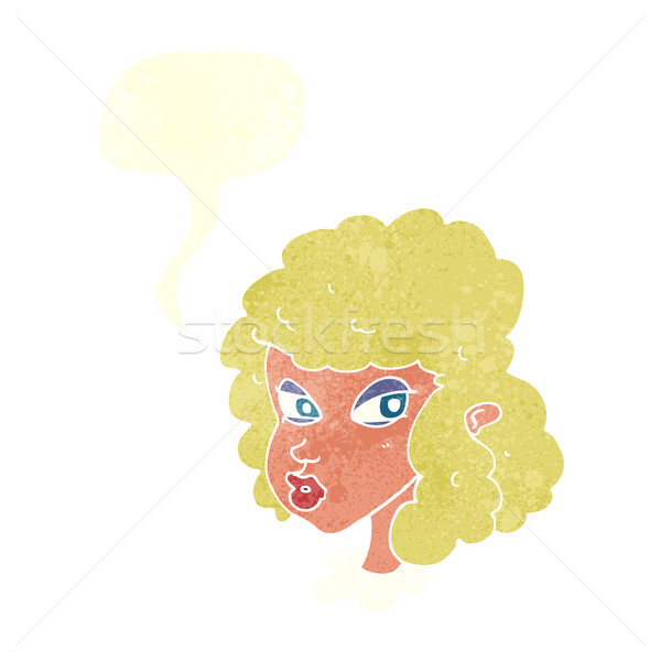 cartoon suspicious woman with speech bubble Stock photo © lineartestpilot