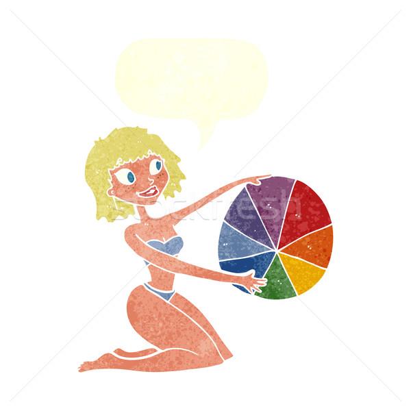 Karikatur bikini Mädchen Beachball Sprechblase Frau Stock foto © lineartestpilot