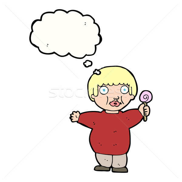 cartoon fat child with thought bubble Stock photo © lineartestpilot