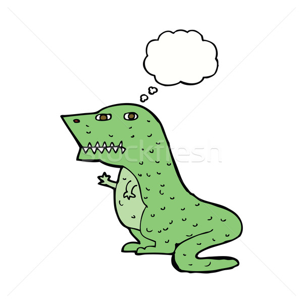 Cartoon динозавр мысли пузырь стороны дизайна искусства Сток-фото © lineartestpilot