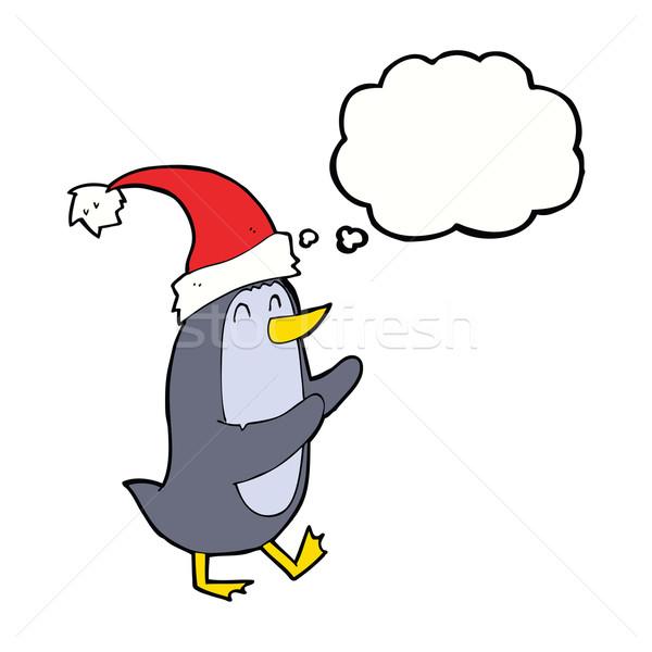 Cartoon Рождества пингвин мысли пузырь стороны дизайна Сток-фото © lineartestpilot