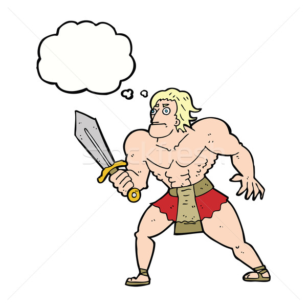 cartoon fantasy hero man with thought bubble Stock photo © lineartestpilot