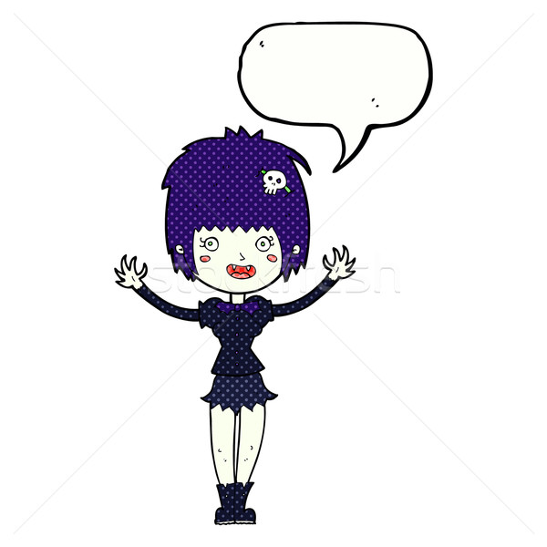 Cartoon vampier meisje tekstballon vrouw hand Stockfoto © lineartestpilot