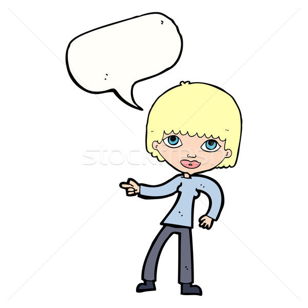 cartoon woman pointing with speech bubble Stock photo © lineartestpilot