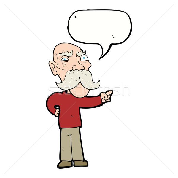 Rajz bosszús idős férfi mutat szövegbuborék kéz Stock fotó © lineartestpilot