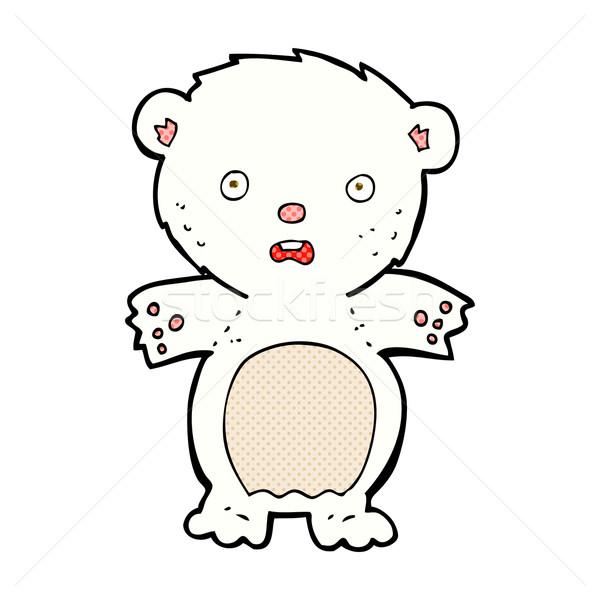 испуганный полярный медведь комического Cartoon ретро Сток-фото © lineartestpilot