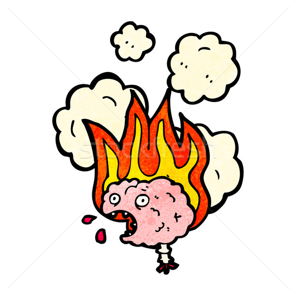 Migraña cerebro Cartoon fuego signo hablar Foto stock © lineartestpilot