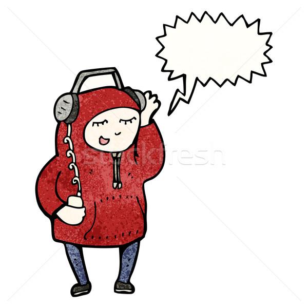 Desenho animado homem ouvir música fones de ouvido adolescente retro Foto stock © lineartestpilot