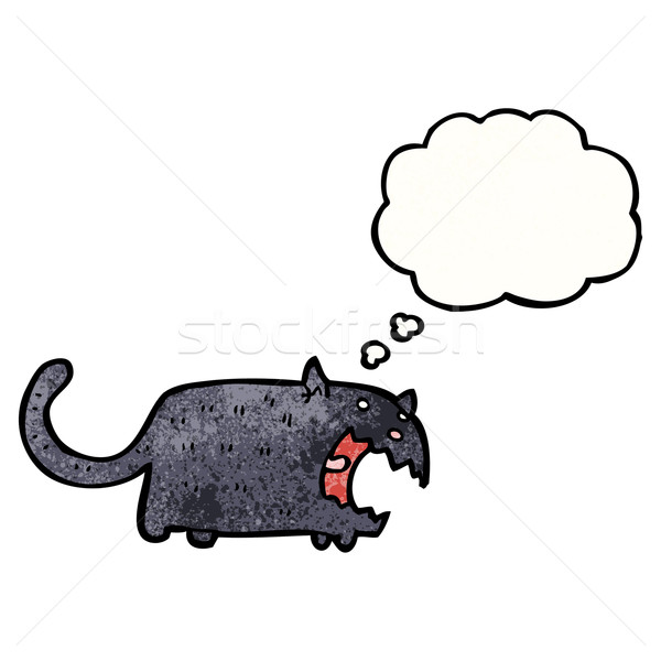 Rajz fekete macska fekete retro gondolkodik rajz Stock fotó © lineartestpilot