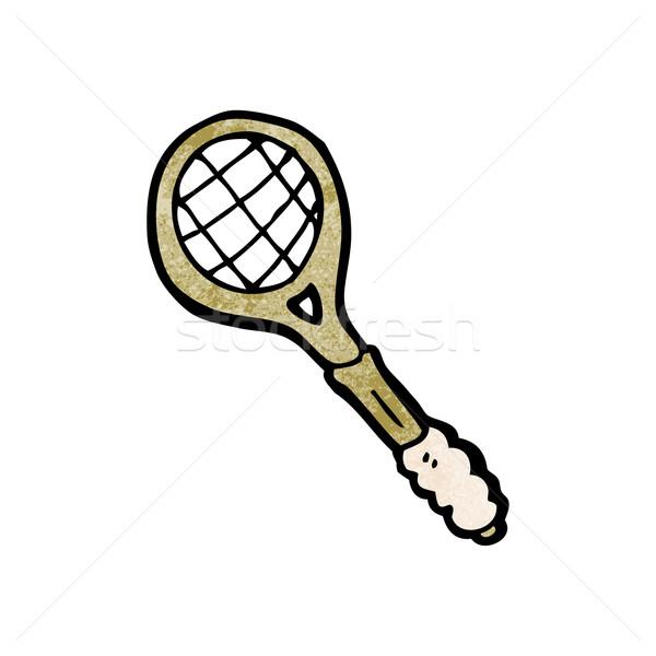 Cartoon tennisracket kunst retro tekening cute Stockfoto © lineartestpilot