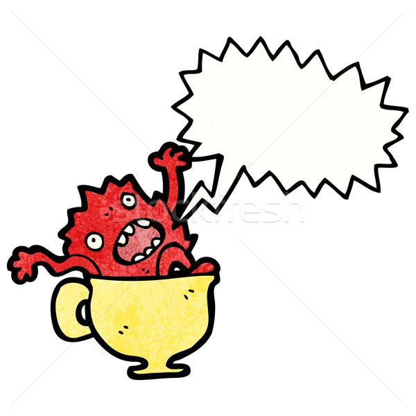 Karikatür canavar çay fincanı Retro çizim kupa Stok fotoğraf © lineartestpilot