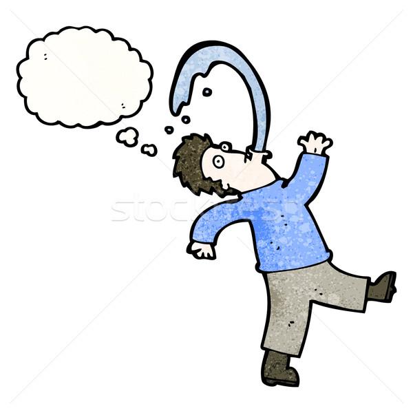 Cartoon man water retro tekening mannelijke Stockfoto © lineartestpilot
