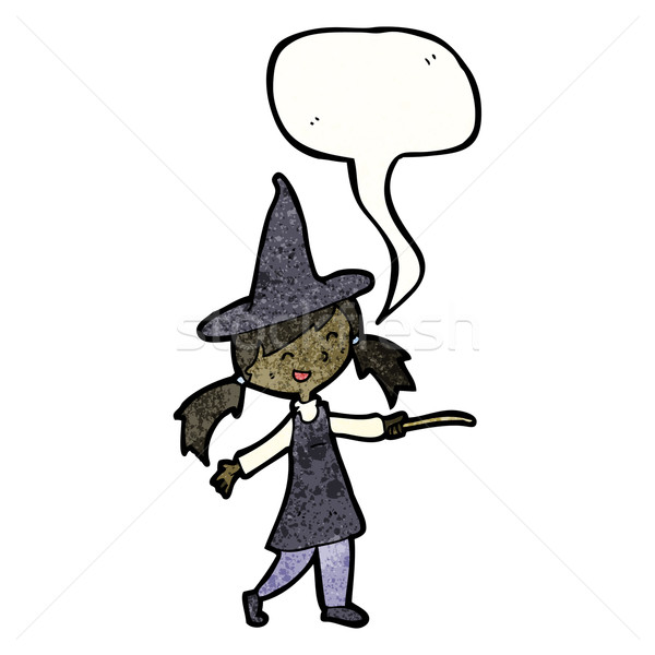 cartoon witch girl casting spell Stock photo © lineartestpilot