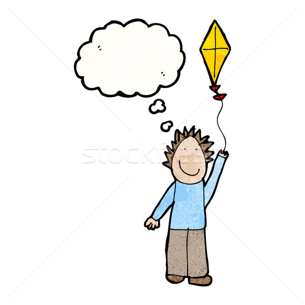 child's drawing of a boy flying kite Stock photo © lineartestpilot