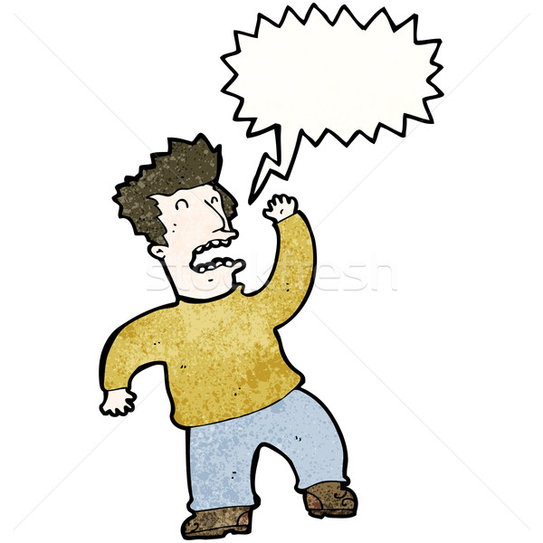 Rajz kiált mérges férfi retro textúra Stock fotó © lineartestpilot