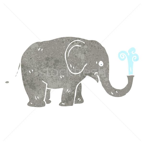 Retro cartoon słoń tekstury odizolowany biały Zdjęcia stock © lineartestpilot